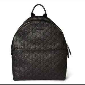 Gucci Guccissima Black Leather Backpack